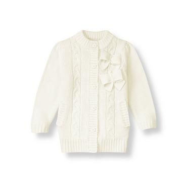 Jet Ivory Bow Cable Sweater Coat at JanieandJack