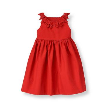 Penguin Red Bow Twill Dress at JanieandJack