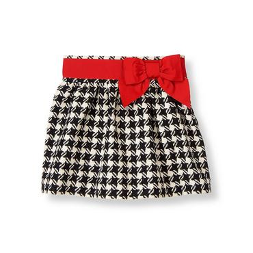Black Houndstooth Bow Houndstooth Skirt at JanieandJack