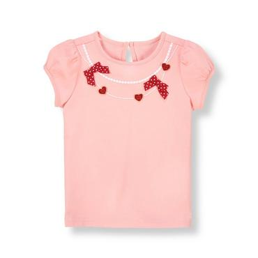 Sweetheart Pink Heart Bow Necklace Top at JanieandJack