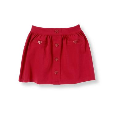 Cupid Red Heart Button Ponte Skirt at JanieandJack