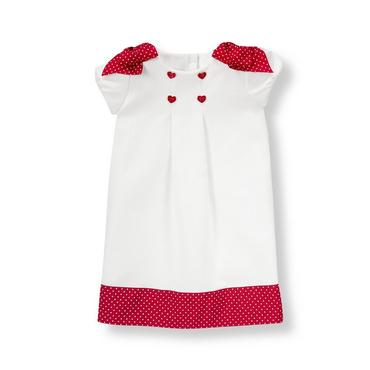 White Dot Bow Ponte Dress at JanieandJack