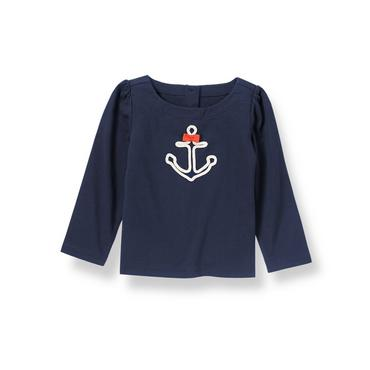 Nautical Navy Bow Anchor Top at JanieandJack