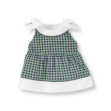 Green/Navy Geometric Geometric Print Poplin Top at JanieandJack
