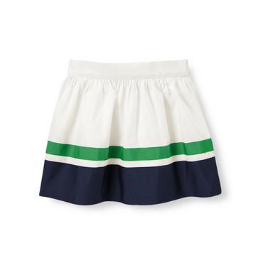 Jet Ivory Colorblock Poplin Skirt at JanieandJack