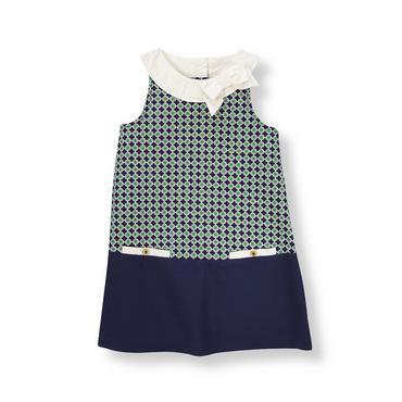 Green/Navy Geometric Geometric Print Pique Dress at JanieandJack