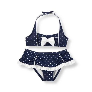 Resort Navy Dot Dot Ruffle Two-Piece Swimsuit at JanieandJack