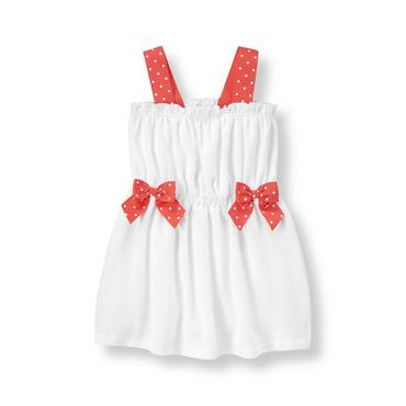 White Dot Bow Terry Swim Cover-Up at JanieandJack