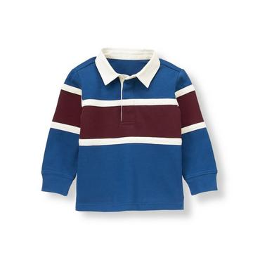 Boys River Blue Elbow Patch Rugby Shirt at JanieandJack