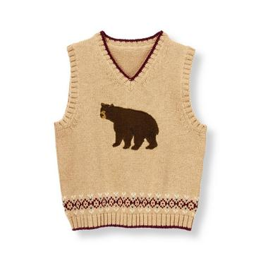 Oak Heather Bear Fair Isle Sweater Vest at JanieandJack