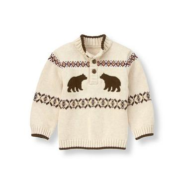 Sandy Heather Bear Fair Isle Sweater at JanieandJack