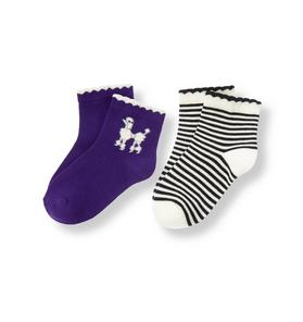 Poodle Stripe Sock Two-Pack