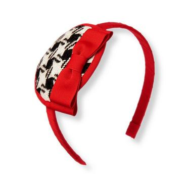 Black Houndstooth Bow Houndstooth Headband at JanieandJack