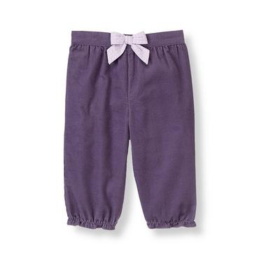 Baby Girl Antique Purple Dot Bow Corduroy Pant at JanieandJack