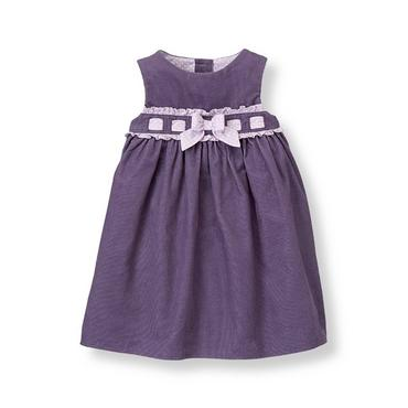 Baby Girl Antique Purple Bow Corduroy Jumper at JanieandJack