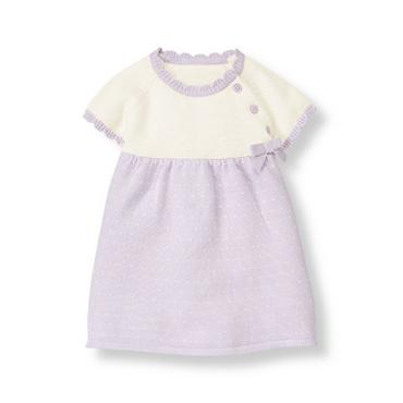 Baby Girl Dainty Lavender Bow Sweater Dress at JanieandJack