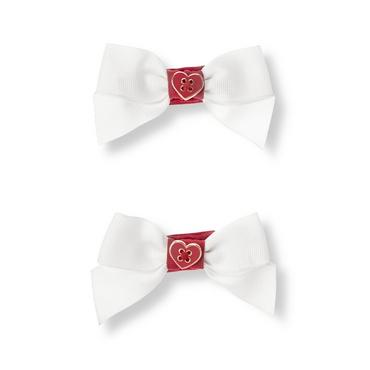 White Heart Bow Barrette Two-Pack at JanieandJack