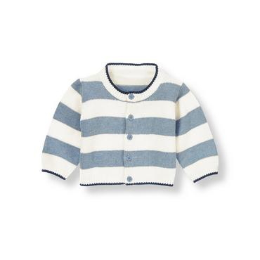 Baby Boy Heathered Blue Stripe Stripe Cardigan at JanieandJack