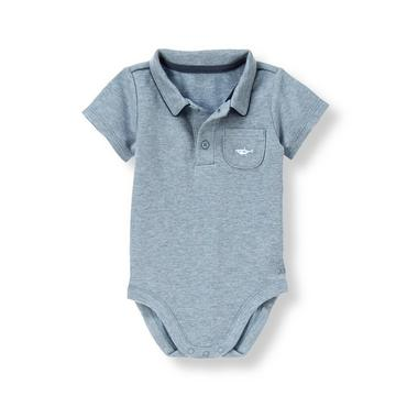 Heathered Blue Shark Short Sleeve Polo Bodysuit at JanieandJack