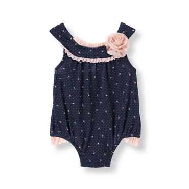 Baby Girl Parisian Navy Pindot Floral Rosette Swimsuit at JanieandJack