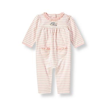 Baby Girl Blush Pink Stripe Ruffle Stripe One-Piece at JanieandJack