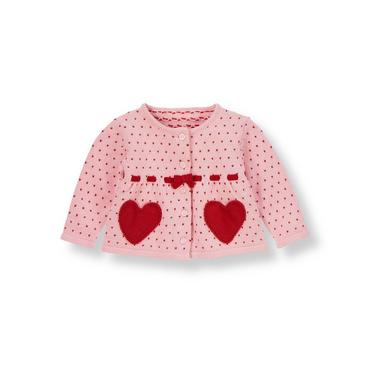 Sweetheart Pink Heart Cardigan at JanieandJack