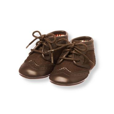 Baby Boy Moose Brown Corduroy Wingtip Crib Bootie at JanieandJack