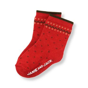 Baby Boy Reindeer Red Fair Isle Sock at JanieandJack
