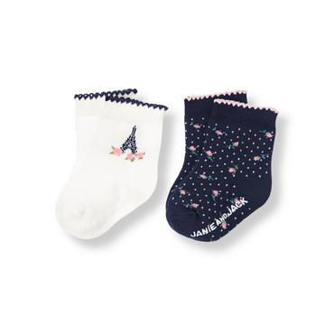 Parisian Navy/Jet Ivory Eiffel Tower Floral Sock Two-Pack at JanieandJack