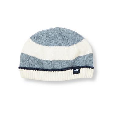 Baby Boy Heathered Blue Stripe Stripe Sweater Beanie at JanieandJack