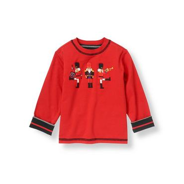 Nutcracker Red/Black Stripe Nutcracker Reversible Tee at JanieandJack