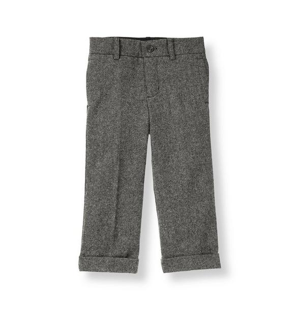 Cuffed Wool Blend Tweed Trouser