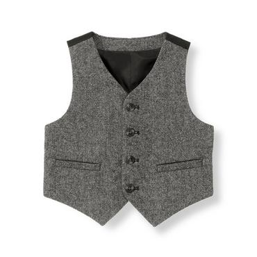 Grey Tweed Wool Blend Tweed Vest at JanieandJack