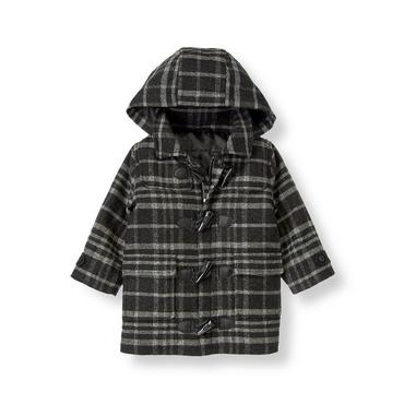 Winter Grey Plaid Woolen Toggle Coat at JanieandJack