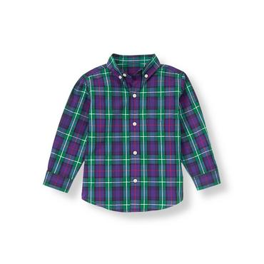 Boys Festive Purple Plaid Plaid Shirt at JanieandJack