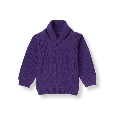 Boys Festive Purple Shawl Collar Sweater at JanieandJack