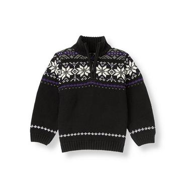 Black Fair Isle Fair Isle Sweater at JanieandJack