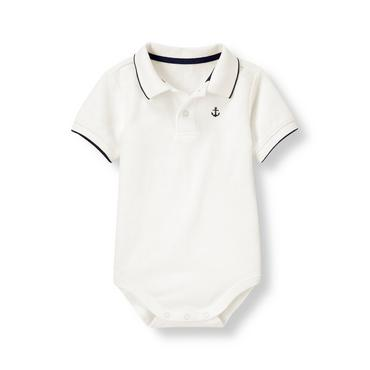 Layette Jet Ivory Anchor Polo Bodysuit at JanieandJack