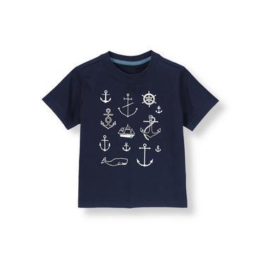 Boys Nautical Navy Nautical Tee at JanieandJack