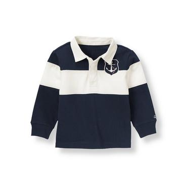Nautical Navy Anchor Stripe Rugby Shirt at JanieandJack
