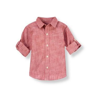 Red Chambray Chambray Roll Cuff Shirt at JanieandJack