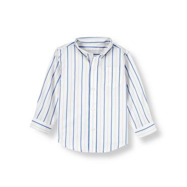 White/Blue Stripe Stripe Poplin Shirt at JanieandJack