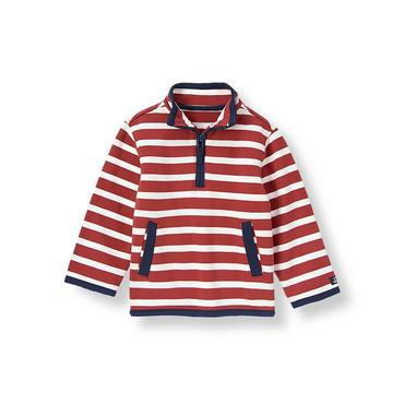 Marine Red Stripe Stripe Half-Zip Pullover at JanieandJack