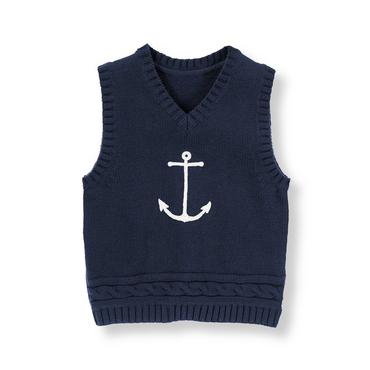 Nautical Navy Anchor Sweater Vest at JanieandJack