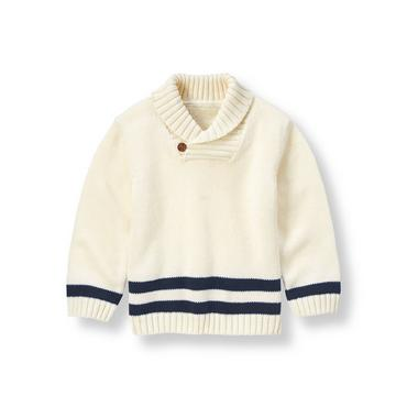 Rich Ivory Shawl Collar Sweater at JanieandJack