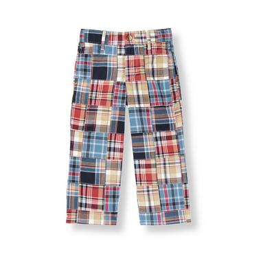 Marine Red Patchwork Plaid Patchwork Pant at JanieandJack