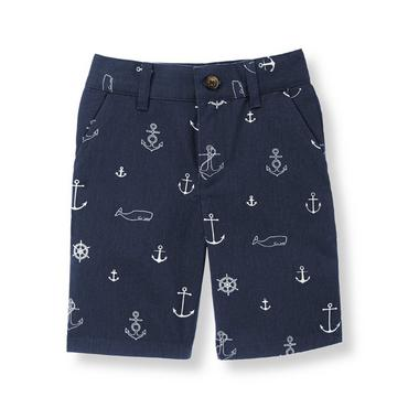 Navy Anchor Anchor Twill Short at JanieandJack
