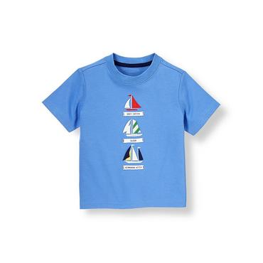 Boys Sea Blue Sailboat Tee at JanieandJack