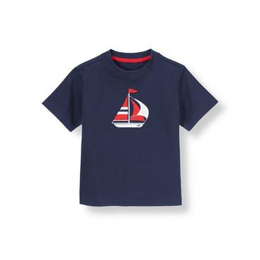 Boys Nautical Navy Sailboat Tee at JanieandJack