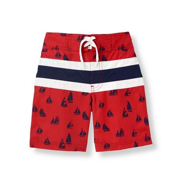 Resort Red Sailboat Stripe Swim Trunk at JanieandJack